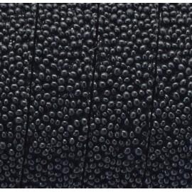 Cordon plat synthetique caviar noir 10mm
