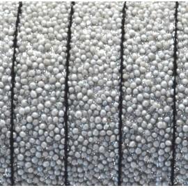 Cordon plat synthetique caviar gris clair 10mm