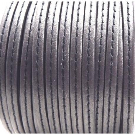 Cuir plat 5mm gris fonce avec couture par 20 cm