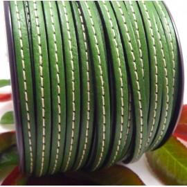 cuir plat 5mm vert gazon couture