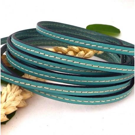 cuir plat 5mm vert ocean couture