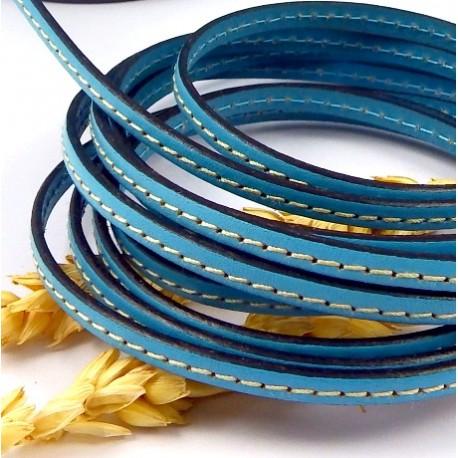cuir plat bleu ciel couture 5mm