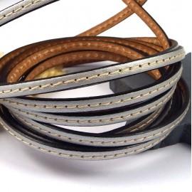 cuir plat argent 5mm avec couture