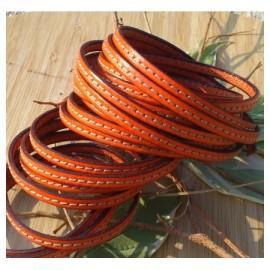 cuir plat orange 5mm avec couture