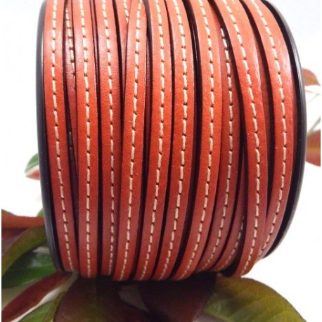 Cuir plat 5mm orange avec couture en rouleau