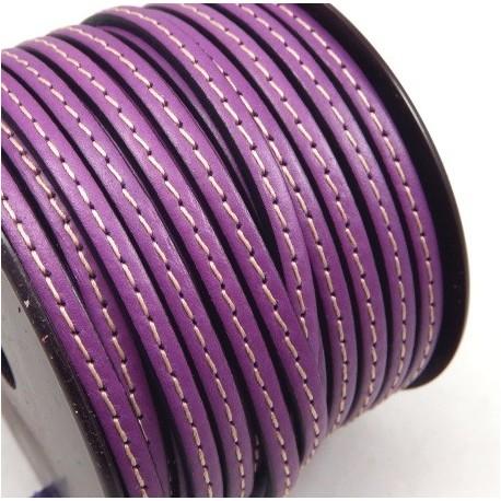 Cuir plat 5mm lilas avec couture par 20 cm
