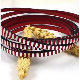 Cuir plat raye rouge et argent par 20cm