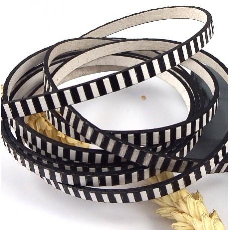 cuir plat raye noir et blanc par 20cm