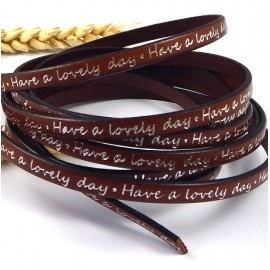 Cuir plat imprime marron et argent 5mm lovely day par 20cm