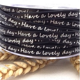 cuir plat imprime blanc et noir 5mm lovely day