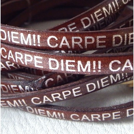cuir plat argent 5mm grave marron carpe diem