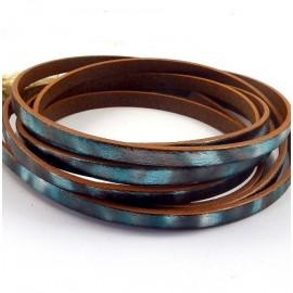 Cuir plat 5mm vert et turquoise iridescent par 20cm