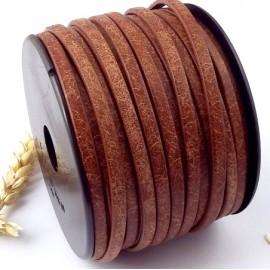 Cuir plat 5mm special imprime vintage marron