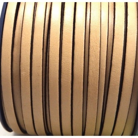 Cuir plat 5mm naturel en rouleau