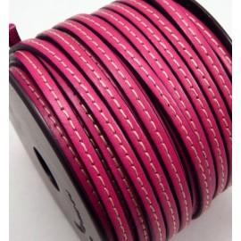 Cuir plat 5mm fuchsia avec couture en rouleau