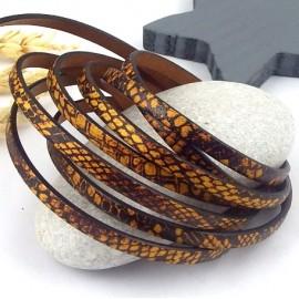 Cuir plat 5mm imprime reptile camouflage cuivre et marron