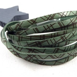 Cuir plat 5mm imprime quadrille vert amande et marron italien