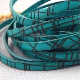 Cuir plat 5mm imprime quadrille turquoise et marron italien
