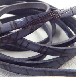 Cuir plat 5mm imprime quadrille gris et marron italien