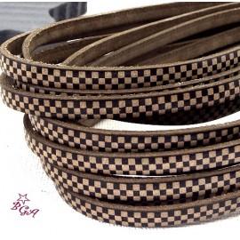 Cuir plat 5mm imprime damier marron et noir italien