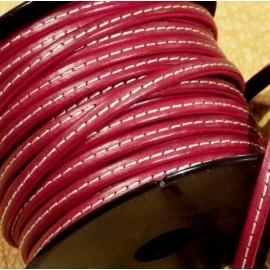 Cuir plat 5mm rouge fonce avec couture en rouleau