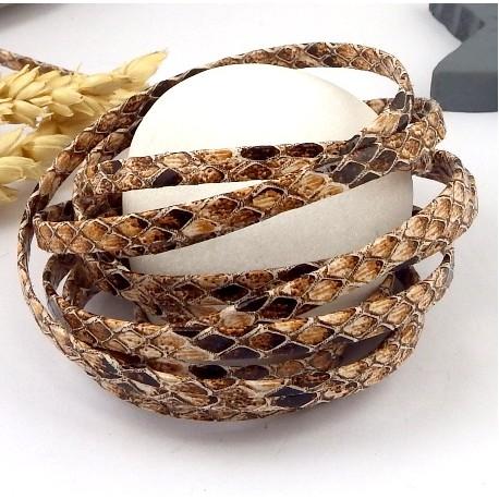 Cordon cuir synthetique plat reptile corail et marron 5mm