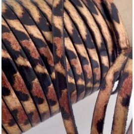 Cuir plat leopard metallise 5mm par 20cm