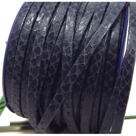 cordon cuir plat 5mm noir grave serpent uni par 20cm