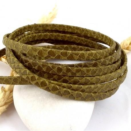 cordon cuir plat 5mm kaki grave serpent