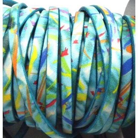 cordon cuir plat 5mm imprime turquoise