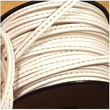 Cuir plat 5mm blanc avec couture en ropuleau