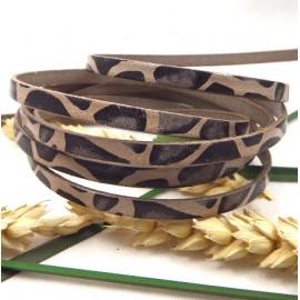 cordon cuir plat 5mm haute qualite imprime savane