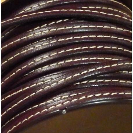 Cuir plat 5mm marron avec couture par 20 cm