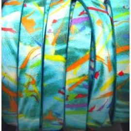 Cuir plat 10mm imprime graphique turquoise
