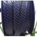 cuir plat 10mm grave serpent double bleu marine