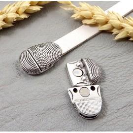 fermoir original style africain plaque argent pour cuir plat 10mm