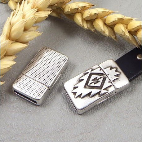 fermoir original azteque magnetique plaque argent pour cuir plat 10mm