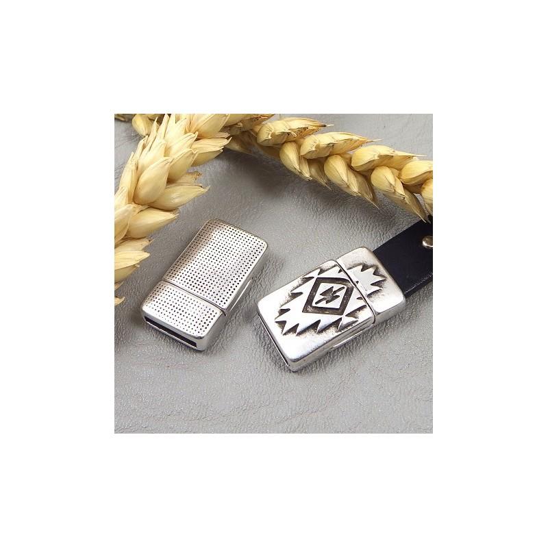 fermoir original azteque magnetique plaque argent pour cuir plat 10mm. Black Bedroom Furniture Sets. Home Design Ideas