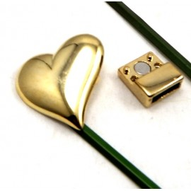 fermoir magnetique zamak plaque argent dore grand coeur pour cuir 10mm
