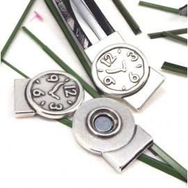 fermoir magnetique montre plaque argent pour cuir interieur 20mm