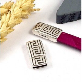 fermoir magnetique geometrique ethnique plaque argent pour cuir plat 10mm