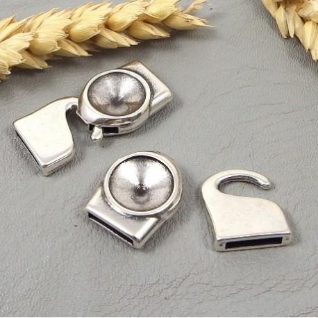 fermoir crochet original reversible plaque argent pour cuir 10mm