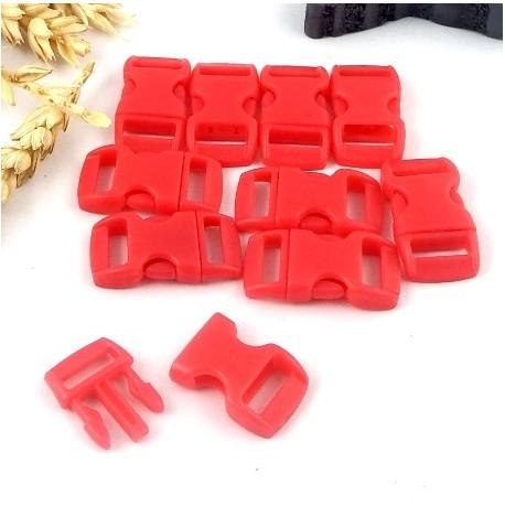 10 fermoirs plastique a clipser rouge pour bracelets paracorde