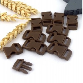 10 fermoirs plastique a clipser marron pour bracelets paracorde