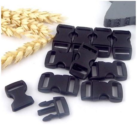 10 fermoirs plastique a clipser noirs pour bracelets paracorde