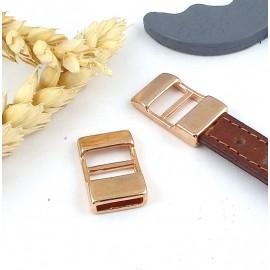 fermoir ajustable or rose pour cuir 10mm haute qualite