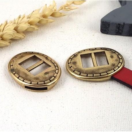 Embout fermoir ovale ethnique plaque bronze pour cuir plat 10mm