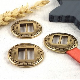 3 fermoirs ovales ethniques plaque bronze pour cuir plat 10mm
