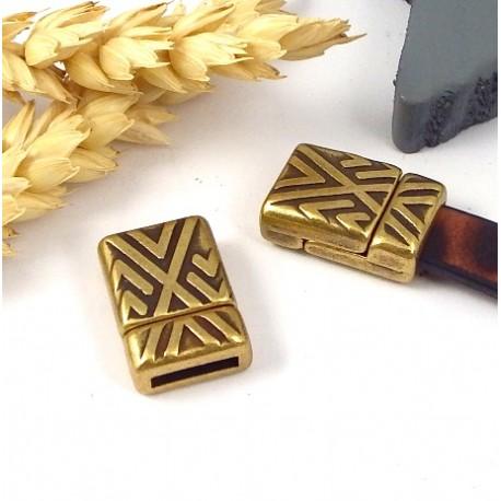 3 fermoirs magnetiques geometriques zamak bronze pour cuir plat 10mm