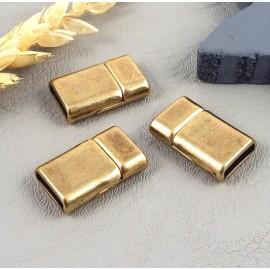 3 fermoirs magnetiques bronze plat pour cuir plat 10mm